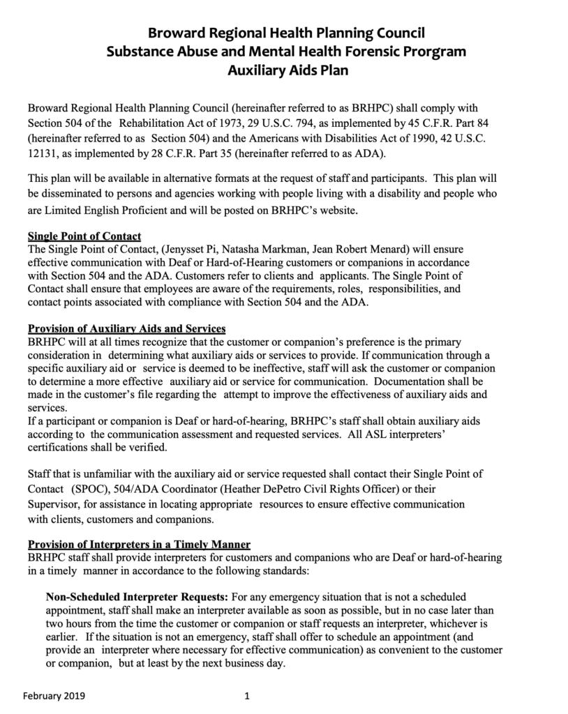 Auxillary Aid Plan 2019