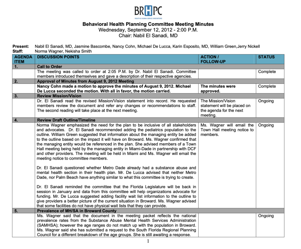 Behavioral Health Planning Committee Minutes