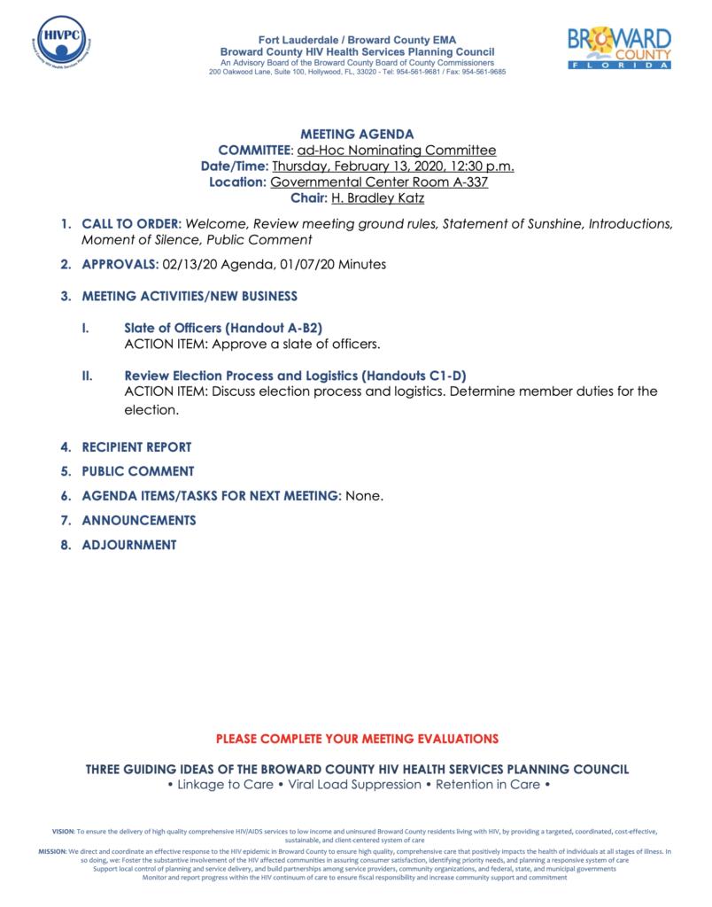 ad Hoc Nominating Meeting Packet 02 13 20